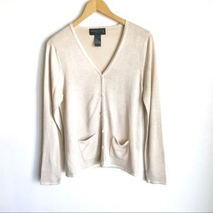 August Silk Sweater Cream Knit Button Front